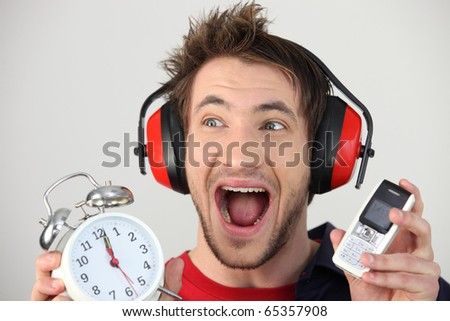 Portrait of a man screaming - stock photo