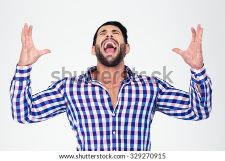 Portrait of a man screaming isolated on a white background