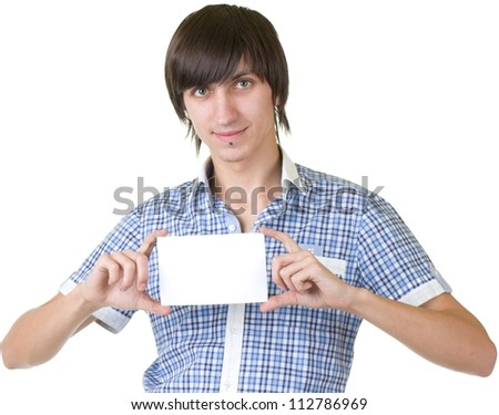 Portrait of a man showing an empty board to write on white background - stock photo