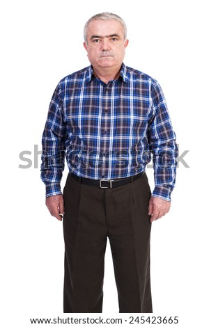Portrait of  a man standing and looking at camera over white background - stock photo