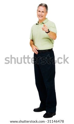 Portrait of a man standing and pointing isolated over white - stock photo