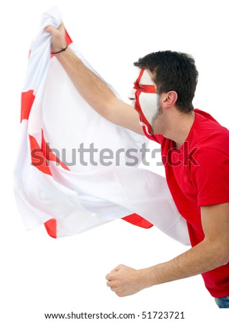 Portrait of a man supporting his team with the english flag painted on his face isolated over white