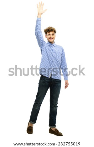 Portrait of a man waving his hand over white background - stock photo