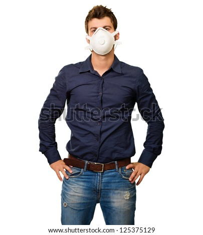 Portrait Of A Man Wearing Mask On White Background - stock photo