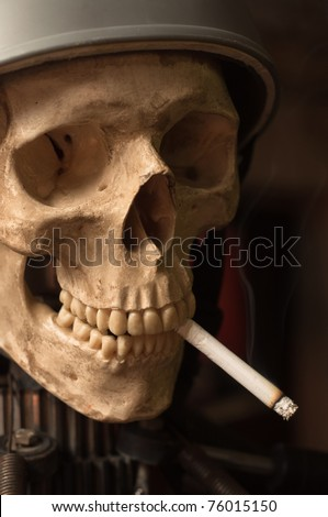 Portrait of a man who smoked cigarettes until he died - stock photo