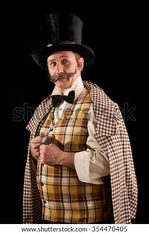 Portrait of a man with a mustache wearing a hat in a retro style. - stock photo