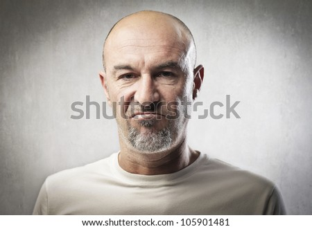 Portrait of a man with angry expression