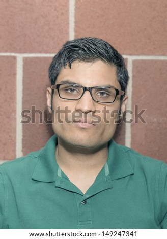 Portrait of a man with angry face - stock photo