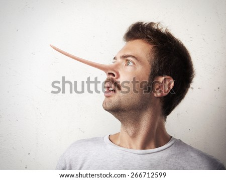 Portrait of a man with long nose - stock photo