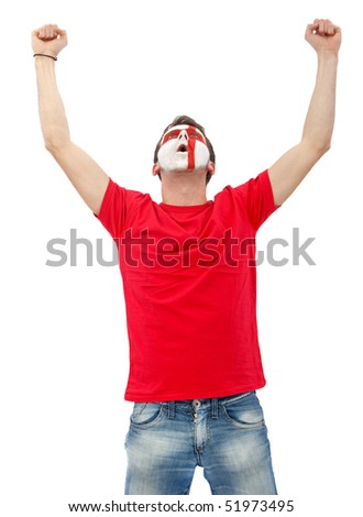 Portrait of a man with the english flag painted on his face isolated over white - stock photo