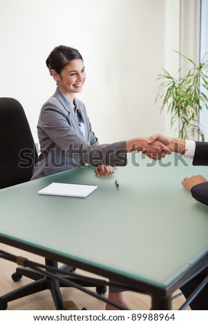 Portrait of a manager shaking the hand of a customer in her office - stock photo