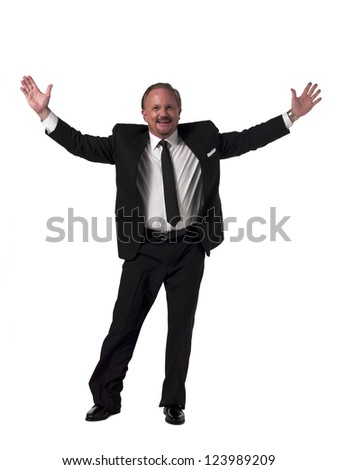 Portrait of a mature businessman with arms outstretched over white background