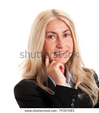 Portrait of a mature businesswoman isolated on white