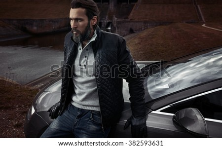 Portrait of a mature handsome guy - stock photo