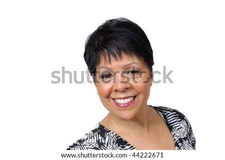 portrait of a mature lady isolated on white - stock photo