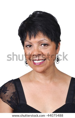 portrait of a mature woman of polynesian heritage - stock photo