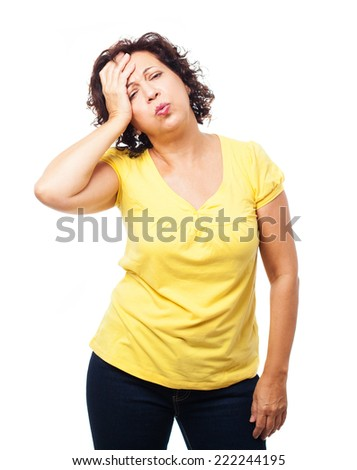 portrait of a mature woman with headache on a white background - stock photo