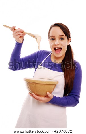 Portrait of a messy young cook on white background - stock photo