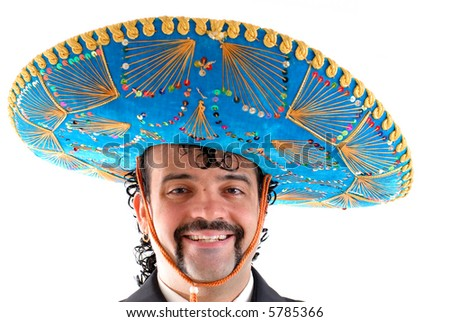 Portrait of a Mexican on white background . - stock photo
