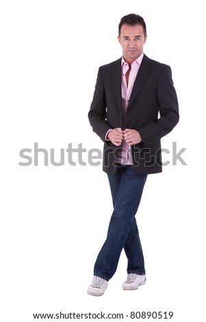 Portrait of a middle-age business man isolated on white background. Studio shot. - stock photo