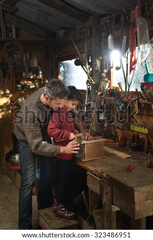 Portrait of a middle age gray hair man with beard working with his little girl in the workshop. They are focused while hammering a nail on a wooden birdhouse. They are wearing jeans and woolen pulls.