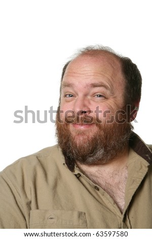 Portrait of a middle aged and obese bearded man. - stock photo