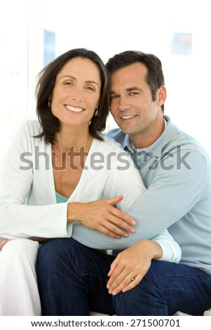 Portrait of a middle aged couple in love - stock photo
