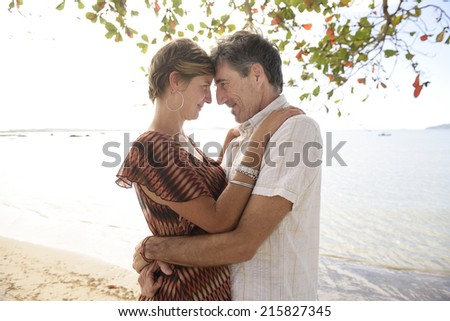 Portrait of a middle aged couple in love on the beach hugging - stock photo