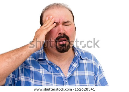 Portrait of a middle-aged man experiencing a headache, isolated on white background - stock photo