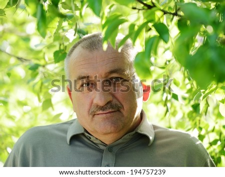 Portrait of a middle aged man with mustache in nature - stock photo