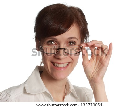 portrait of a middle-aged woman wearing glasses, isolated on white - stock photo