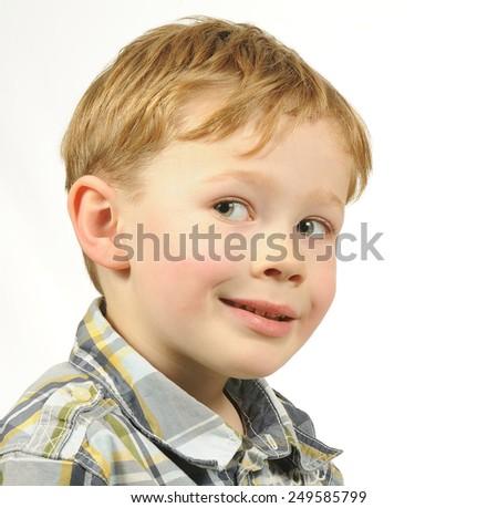 Portrait of a Mischievous Boy - stock photo