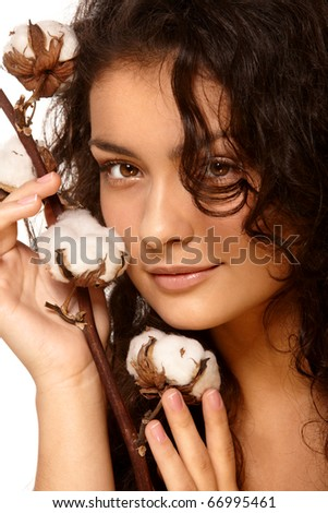 Portrait of a model with cotton - stock photo