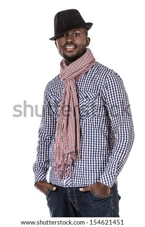 Portrait of a modern african american young man. Isolated over white. - stock photo