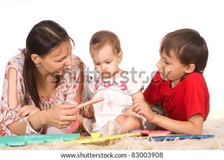 portrait of a mom with children on white