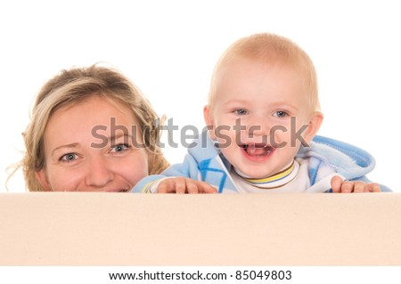 portrait of a mom with her baby - stock photo