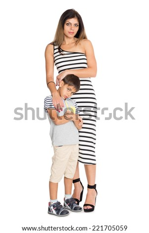 Portrait of a mother and six year old son to his full length. - stock photo