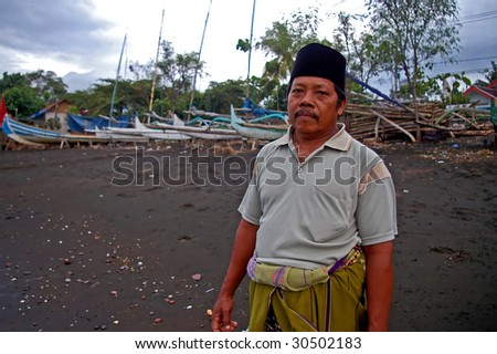 Portrait of a Muslim fisherman, Pasir Putih, Java, Indonesia.