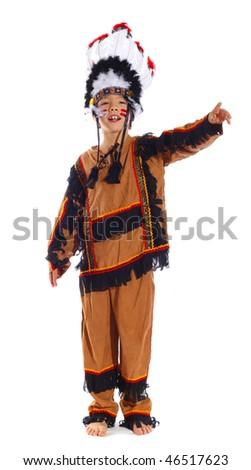 Portrait of a native american boy in a studio - stock photo
