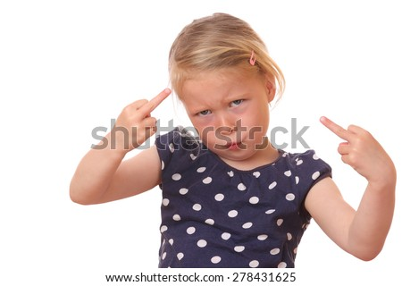 Portrait of a naughty young girl on white background - stock photo