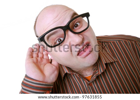 portrait of a nerdy guy - stock photo