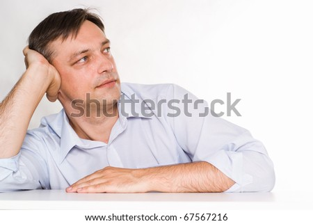Portrait of a nice business man on a white background - stock photo