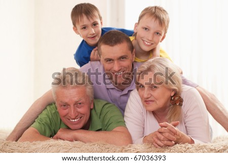 portrait of a nice family of five