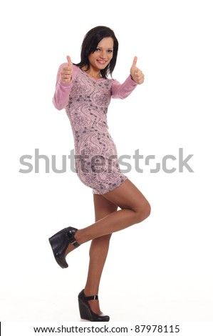 portrait of a nice girl posing on white - stock photo