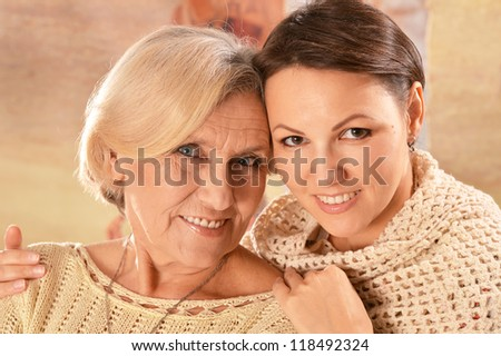 portrait of a nice mother and daughter