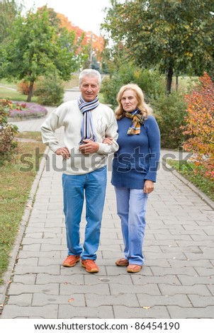portrait of a nice old couple at park