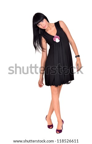 portrait of a nice sweet girl posing on a white background - stock photo