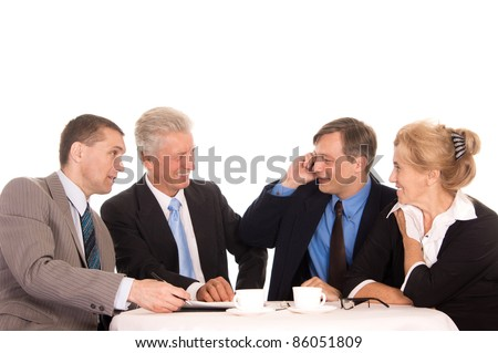 portrait of a nice team on white - stock photo