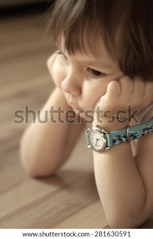 Portrait of a offended little boy close-up - stock photo