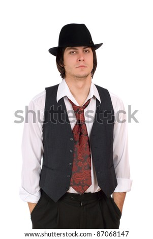 Portrait of a old-fashioned young man - stock photo